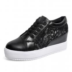 Women Black High Slope Hollow Breathable Mesh Sneaker Shoes S-109BK