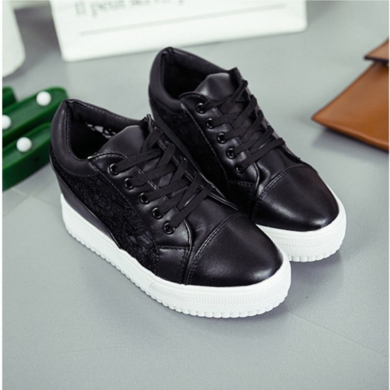 Women Black High Slope Hollow Breathable Mesh Sneaker Shoes S-109BK image