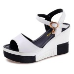 Women Summer Slope Fish Mouth White High Wedge Sandals S-110W |image