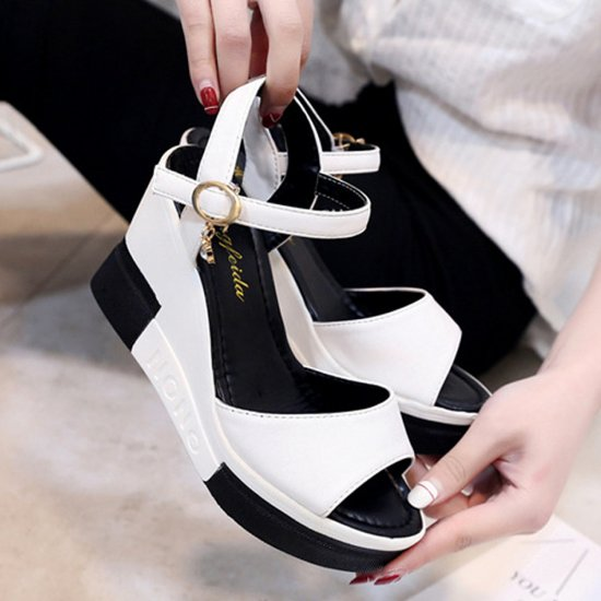Women Summer Slope Fish Mouth White High Wedge Sandals S-110W image