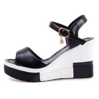 Women Summer Slope Fish Mouth Black High Wedge Sandals S-110BK