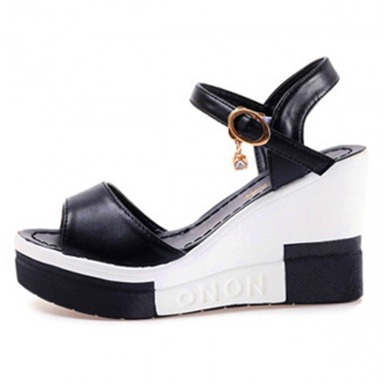 Women Summer Slope Fish Mouth Black High Wedge Sandals S-110BK image