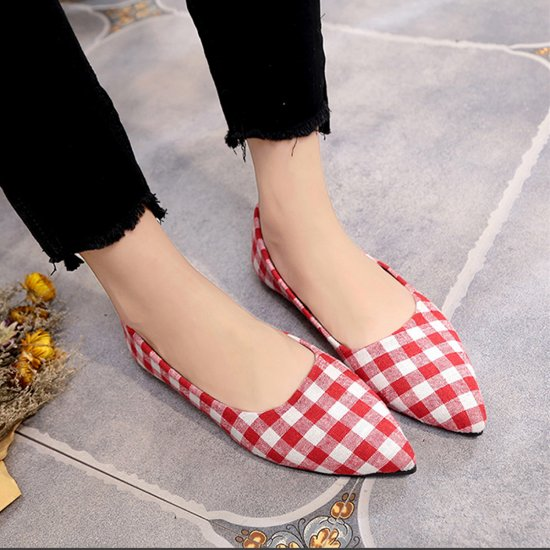 Ladies Summer section Tip Shallow mouth Square Fashion Red Shoes S-111RD image
