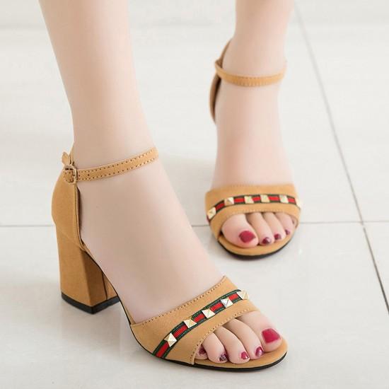 Ladies summer open toe with high heels Brown sandals S-112BR image
