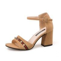 Ladies summer open toe with high heels Brown sandals S-112BR