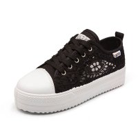 Women Spring and summer thick canvas hollow black breathable lace shoes S-113BK