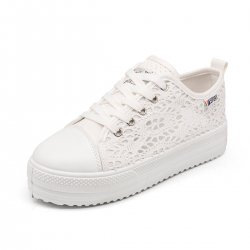 Women Spring and summer thick canvas hollow White breathable lace shoes S-113W