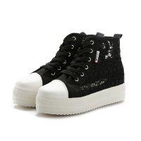 Summer Elegant Mesh Breathable Black Sneaker Shoes For Women S-114BK