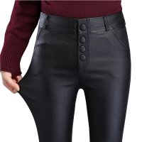 Women Black New Fashion High Waist Soft Pencil Style Leather Pants WC-162BK