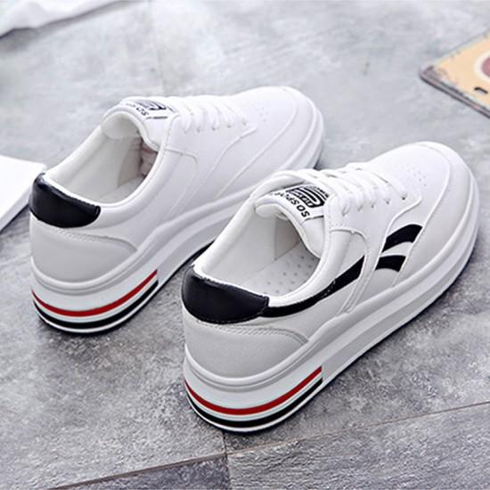 Women Elegant White Casual Shoes With Thick Bottom Black Stripe S-115BK