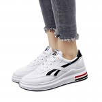 Women Elegant White Casual Shoes With Thick Bottom Black Stripe S-115BK |image