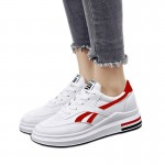 Women Elegant White Casual Shoes With Thick Bottom Red Stripe S-115RD  image