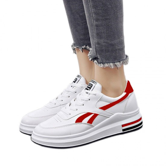 Women Elegant White Casual Shoes With Thick Bottom Red Stripe S-115RD