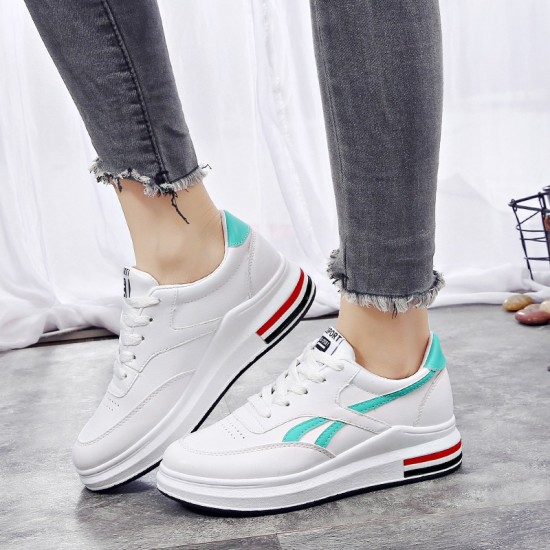 Women Elegant White Casual Shoes With Thick Bottom Green Stripe S-115GR