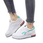 Women Elegant White Casual Shoes With Thick Bottom Green Stripe S-115GR  image