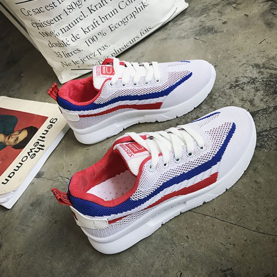 Elegant Weaving Sports Running Shoes With Blue Stripe for Women S-116BL image