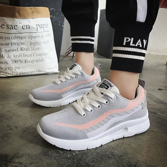Elegant Weaving Sports Running Shoes With Gray Stripe for Women S-116GY image