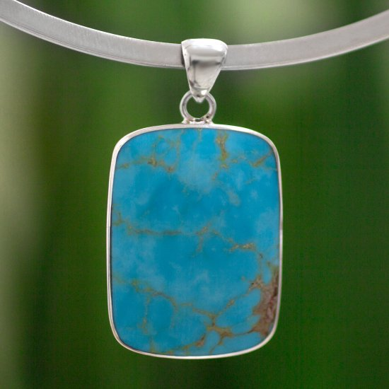 Caribbean Mosaic Handmade Taxco Silver Natural Turquoise Necklace ANDN-44