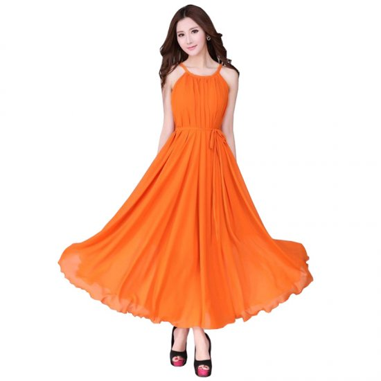 Women Fashion Orange Color Beach Bohemian Elegant Chiffon Maxi Dress WC-43OR image