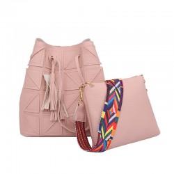Women Fashion Triangle Fight Water Bucket Pink Color Handbag WB-24PK