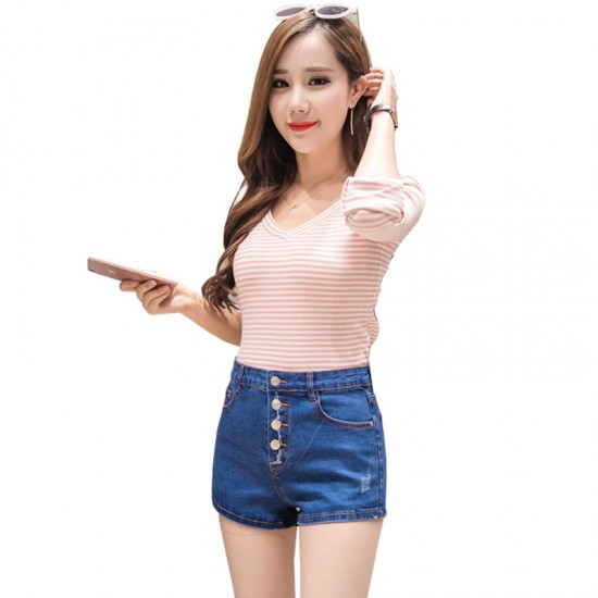 Women Sexy Summer Denim Shorts Blue Elastic Jeans Skirt WC-100BL image