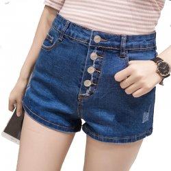 Women Sexy Summer Denim Shorts Blue Elastic Jeans Skirt  WC-100BL