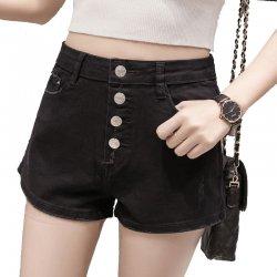 Women Sexy Summer Denim Shorts Black Elastic Jeans Skirt WC-100BK