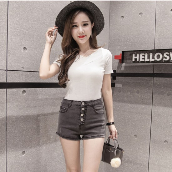 Women Sexy Summer Denim Shorts Grey Elastic Jeans Skirt WC-100GY image