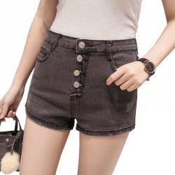 Women Sexy Summer Denim Shorts Grey Elastic Jeans Skirt WC-100GY