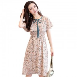 Short Sleeves Summer Turtleneck Mid-Rise Round Collar Dress For Women  WC-163CR