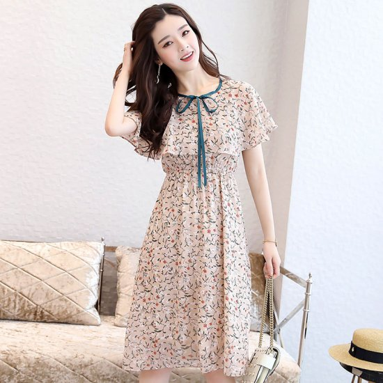 Short Sleeves Summer Turtleneck Mid-Rise Round Collar Dress For Women WC-163CR image