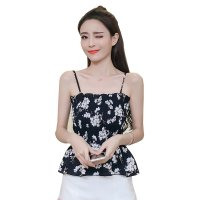 Women black Floral Fashion Balot Tube Chiffon Milking Tops WC-166BK