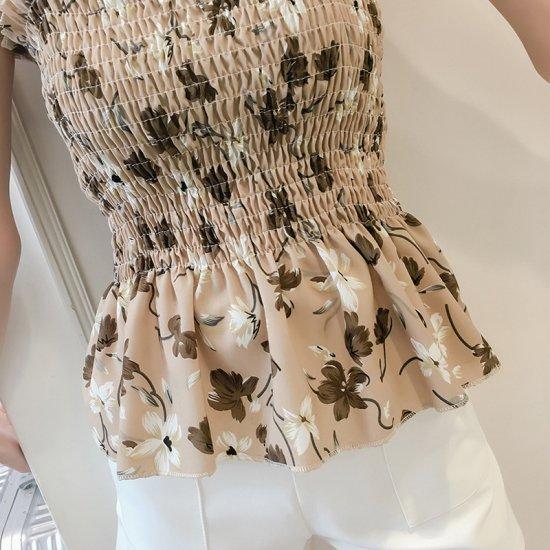 Women Brown Floral Fashion Balot Tube Lotus Chiffon Milking Tops WC-166BR image