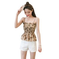 Women Brown Floral Fashion Balot Tube Lotus Chiffon Milking Tops WC-166BR