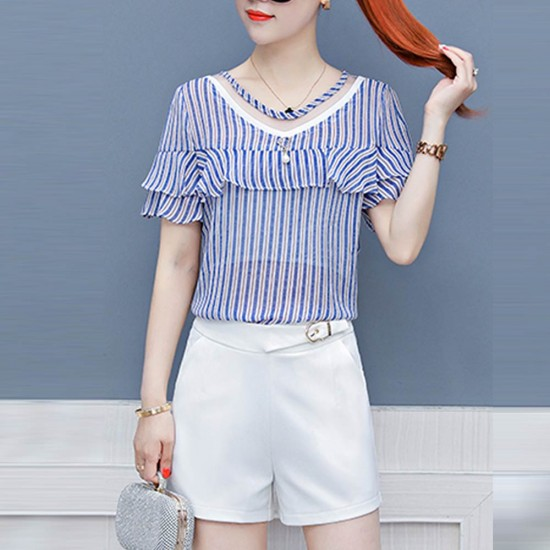 Fashion Temperament Lining Chiffon Shirt For Women WC-167 |image