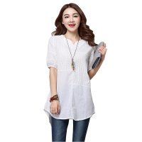 Women White Color Stitching Cotton With Hollow Small V-neck long T-shirt WC-168W