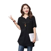 Women Black Color Stitching Cotton With Hollow Small V-neck long T-shirt WC-168BK