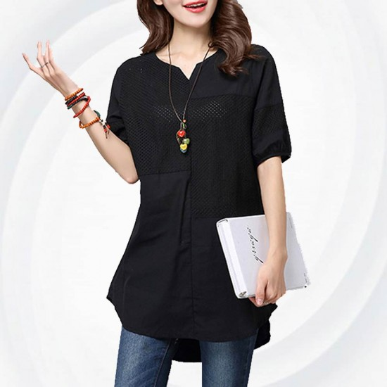 Women Black Color Stitching Cotton With Hollow Small V-neck long T-shirt WC-168BK image