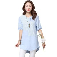 Women Blue Color Stitching Cotton With Hollow Small V-neck long T-shirt WC-168BL