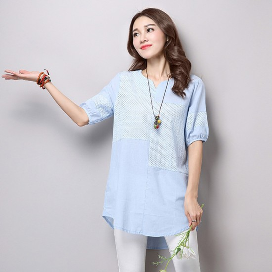 Women Blue Color Stitching Cotton With Hollow Small V-neck long T-shirt WC-168BL image