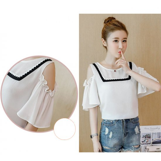 New Real Shot Strapless White Chiffon With Short Sleeve Shirt WC-169W image