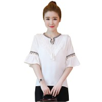 Women Elegant Summer Cotton Pom Pom Blouse Short Sleeve Shirt WC-170W