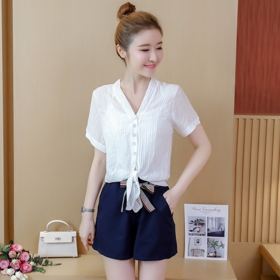 Summer Sweet Vintage High Waist Chiffon Shirt With Blue Skirt WC-171