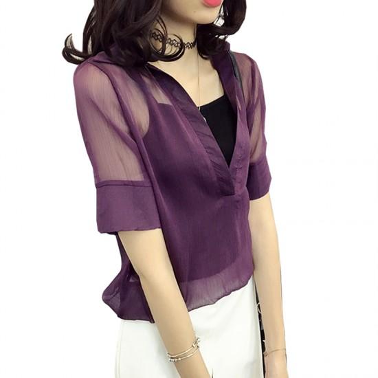 Women purple Thin Sexy Mesh Chiffon Shirt With Inner Cover WC-172PR image