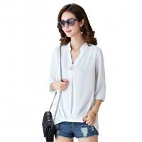 Women Polyester V Neck Plain Sleeves European Casual Shirt WC-173W