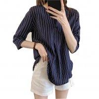 Summer Fashion  Round Neck Short Sleeve Striped Casual Shirt WC-174DB