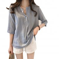 Summer Fashion Round Neck Short Sleeve Striped Casual Shirt WC-174GY