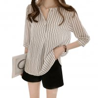 Summer Fashion Round Neck Short Sleeve Striped Casual Shirt WC-174W