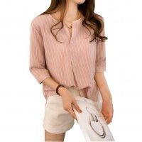 Summer Fashion Round Neck Short Sleeve Striped Casual Shirt WC-174PK
