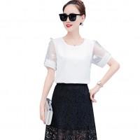Women Fashion Trend Stitching Small Round Neck Shirt WC-175W